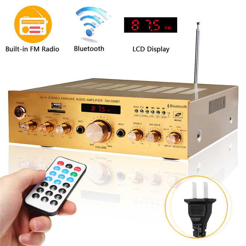 HIFI Power Amplifier 1200W 4ohm Bluetooth Stereo 2 Channel Karaoke FM KTV USB/AUX Power Amplifier 220V With Remote Control