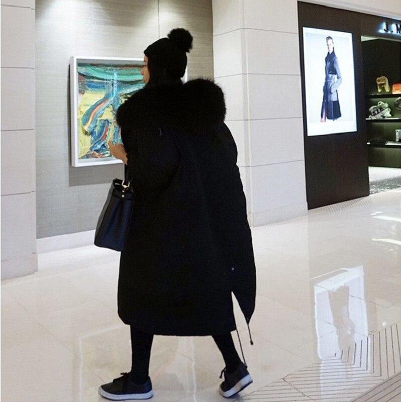 Manteaux Parkas Longue Fld1267 Chaud Fourrure Capuche Outwear Dames Hiver Manteau Femmes À Vestes Lâche Épais Casual Coton grey Black Basic Noir xqIx4X5w