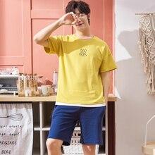 Pure Full Cotton Pajamas Shorts For Men Casual Sleepwear Sum