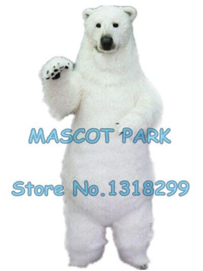 Réaliste polar bear costume de mascotte taille adulte de haute qualité de fourrure blanc polaire ours thème anime cosply costumes carnaval 2969