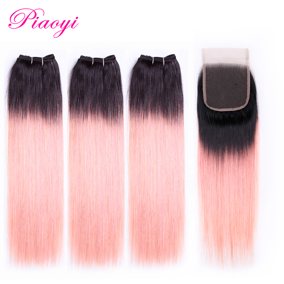 Hair Weaves Human Hair Weaves Mobok Ombre Human Hair Bundles 1 Pcs Brazilian Straight Hair Rose Pink Pre-colored Non Remy Hair Extension Free Shipping 100% Original