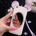 Luxo Bling Diamante Suave TPU Claro Espelho Casos Coque para iPhone6 6 s 6 7 além De Cristal Orelhas de Mickey Capa para celular Fundas