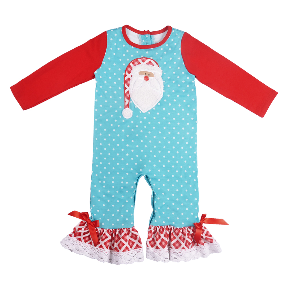 Christmas Day Baby Girls Boutique   Romper   Baby   Romper   Popular Infant Ruffle Clothing Newborn Match Boy   Romper   GPF807-207