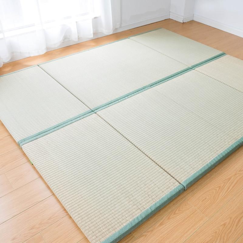 H  Folding Japanese Traditional Tatami Mattress Mat Rectangle Large Foldable Floor Straw Mat For Yoga Sleeping Tatami Mat