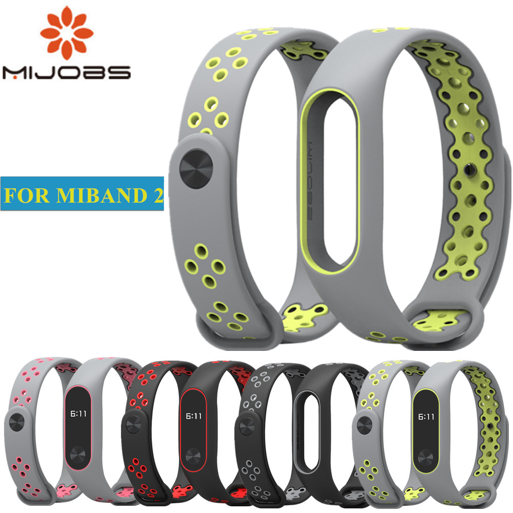 Mijobs for Xiaomi Mi Band 2 Strap Sport miband 2 Strap Bracelet For xiaomi mi band 2 Bracelet Colorful Silicone Replacement цена
