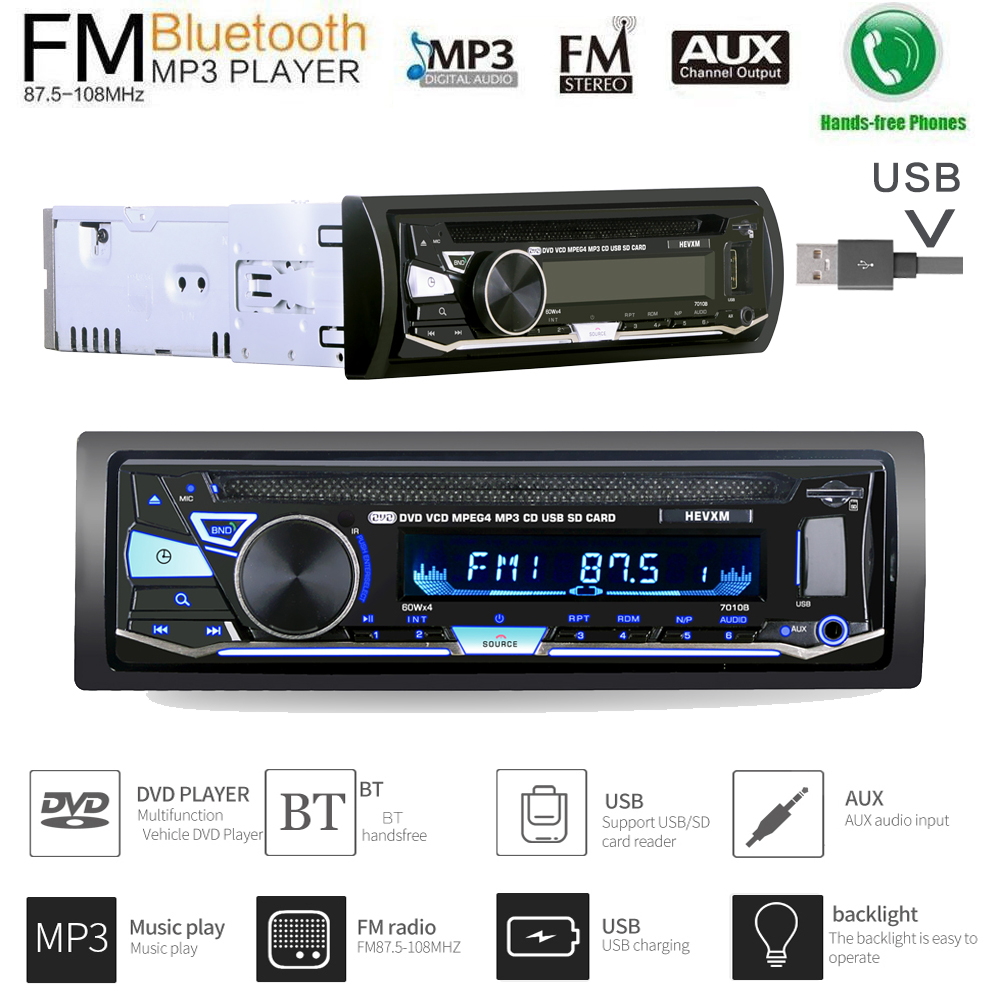 Single Din 12V Car DVD CD Player with BT 7010B Vehicle MP3 Stereo Handfree Autoradio Audio Radio Wireless Remote Control home car cd player 4 channel audio amplifier with remote control and bluetooth function good sound quality