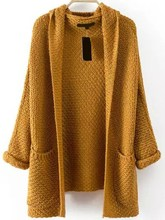 Vintage Women Casual Long Sleeve Pockets Chunky Knit Cardigan Soild Color Sweater Coat