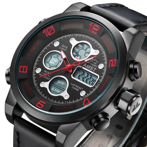 Top Brand Dive LED Watches Men Sport Military Watch Genuine Leather Quartz Watch Men Wristwatches Relogio