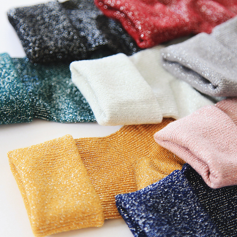Spring Cotton Sequins Socks For Women Solid Simple Socks Fashion Art Fold Female Student Girls Shiny Metallic Line Socks