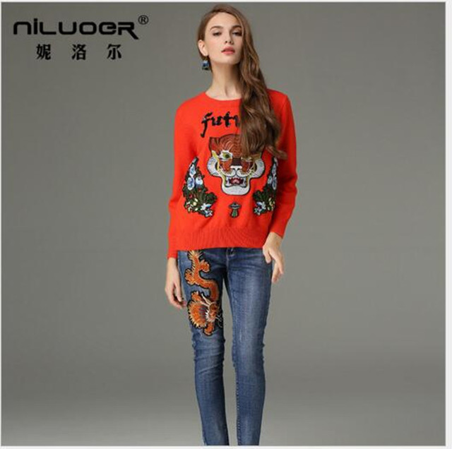 NILUOER brand sweater2017 Women's Unisex Sweater Winter Striped ...