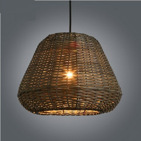 Creative Hand Woven Rattan Droplight Modern LED Pendant Light Fixtures For Dining Room Hanging