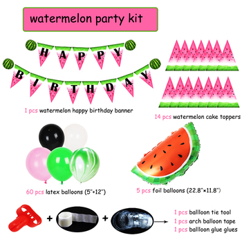 83pc Watermelon Party Supplies Happy Birthday Banner Watermelon Foil Balloons Latex Kids Hawaii Birthday Party decorations Adult 1