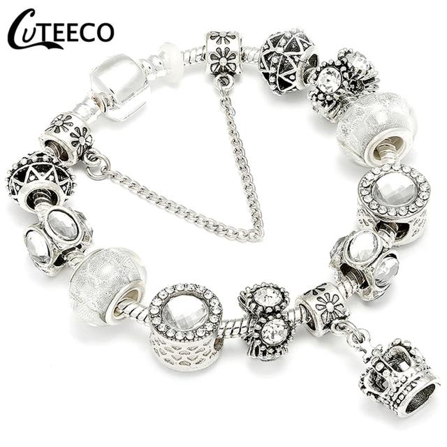 CUTEECO Charms Bracelet Bangle For Women Crystal Flower Fairy Bead Jewelry 3