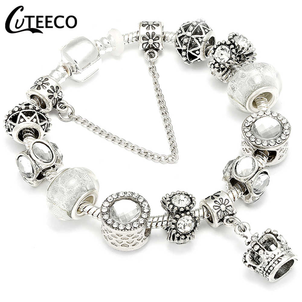 CUTEECO 925, модный серебряный браслет с шармами, браслет для женщин, Хрустальный цветок, сказочный шарик, подходит для брендовых браслетов, ювелирные изделия, Браслеты Mujer