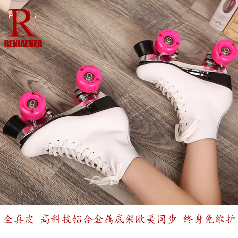 full leather figure skating roller skates middle-heel double PU rollers sepcial brake easy balance for beginners 5-10 size 72mm 85a outdoor roller skates brake pulley wheel blue black yellow