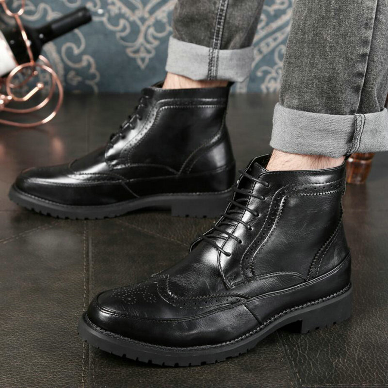Men's Boots Casual Ankle Fashion Boot Lace-up Men Boots Genuine Leather Winter Desert Boot Black Winter Shoes Men Waterproof New недорго, оригинальная цена