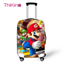 Thikin Mario Travel Luggage Cover for Teens Boys Cartoon School Trunk Suitcase Protective Bag Protector Jacket