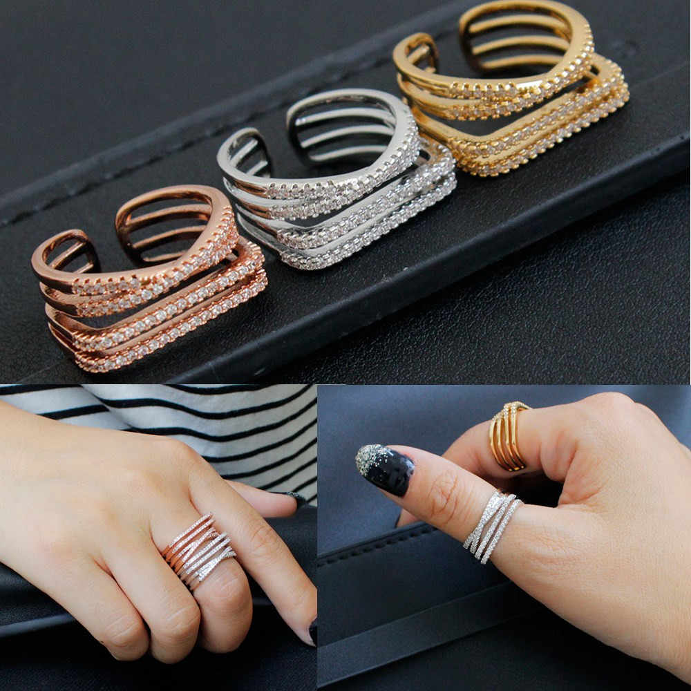Top Quality Concise Crystal Ring Rose Gold Silver Austrian Crystals Full Sizes Wholesale Opening Finger Rings For Women