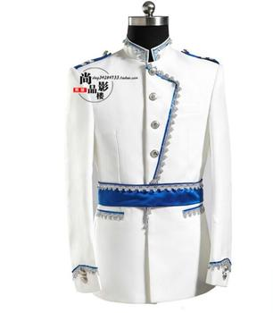 European court men blazer designs masculino homme terno stage costumes for singers men blazer dance clothes jacket dress white