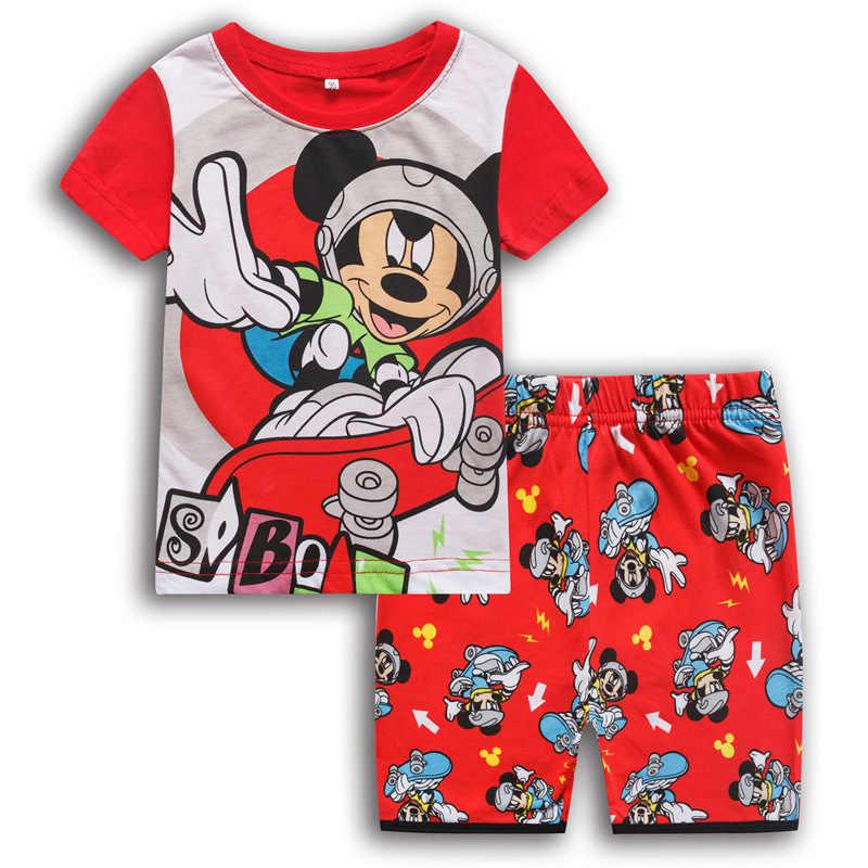 Новая детская одежда для мальчиков и девочек пижамы для маленьких принцесс летний комплект с короткими рукавами с рисунком Микки Минни Маус, детская одежда для сна