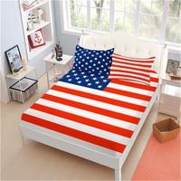 3/4Pcs American Flag Sheet Set Stars Stripes Flag Bed Linens Patriot Theme Flat Sheet Deep Pocket Fitted Sheet Pillowcase