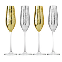 2pcs Set Creative Fashion Gifts Gold Silver Crystal Champagne Glass Hanap Cocktail Cup Wedding Home Decoration