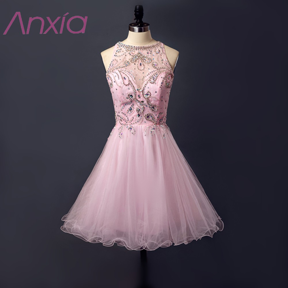 Buy Cheap New Style Pale Pink Beaded Organza Short Prom Dresses 2017 Robe De Soiree Anxia A-Line Sequined Evening Dress Formal Party Dress