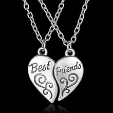 "2Pc/Set Women Lady Girls Friendship Heart Letter ""BEST FRIEND"" Silver Pendant Necklace Chain Best Gift(China)"