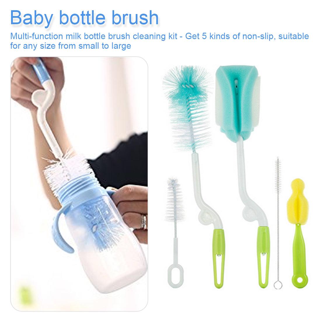 5pcs / Set Bottle Brush Plastic Sponge Brush Baby Milk Glass Water Cup Cleaning Feeding Bottle Baby Bottle  Brushes