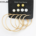 VIVILADY Bohemian Hoop Earrings 6Pairs/set Gold Silver Plated Metal Jewelry Crystal Simulated Pearl Balls Brincos Female OL Gift