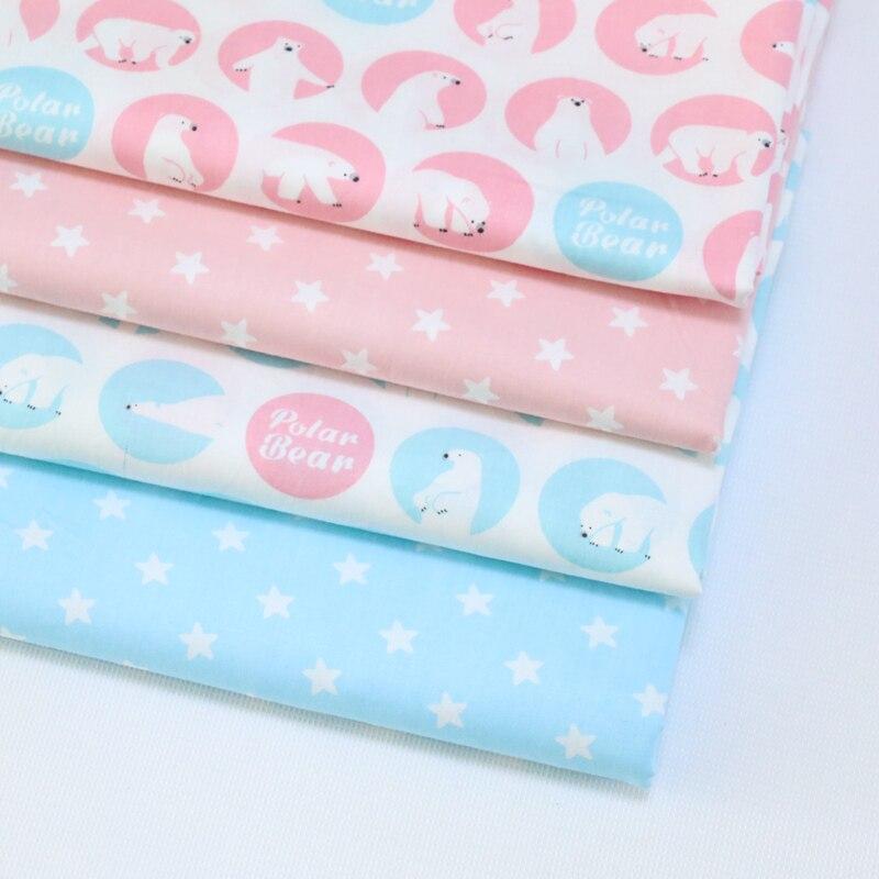 Oso polar estrellas impreso niños tejido de algodón para coser diy quilting patc