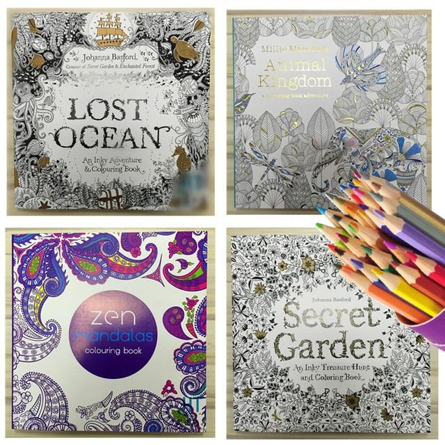 4pcs English Edition Secret Garden Mandala Lost Ocean Animal Kingdom Coloring Book For Adult Antistress