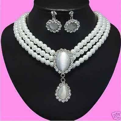 DYY Мисс очарование Jew.385 Белый Опал Кулон 3 Ряда Белый Пресной Воды Жемчужное Ожерелье Серьги комплект ювелирных изделий (A0516)