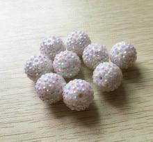 20mm cor branca 100 pçs/lote chunky resina ab strass grânulos, grânulos grossos para miúdo chunky colar jóias