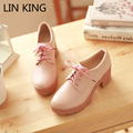 LIN KING New Women Pumps Lace-Up Round Toe Thick Sole Low Top Platform Shoes Solid Party Square HeelHigh Heel Female Ankle Shoes