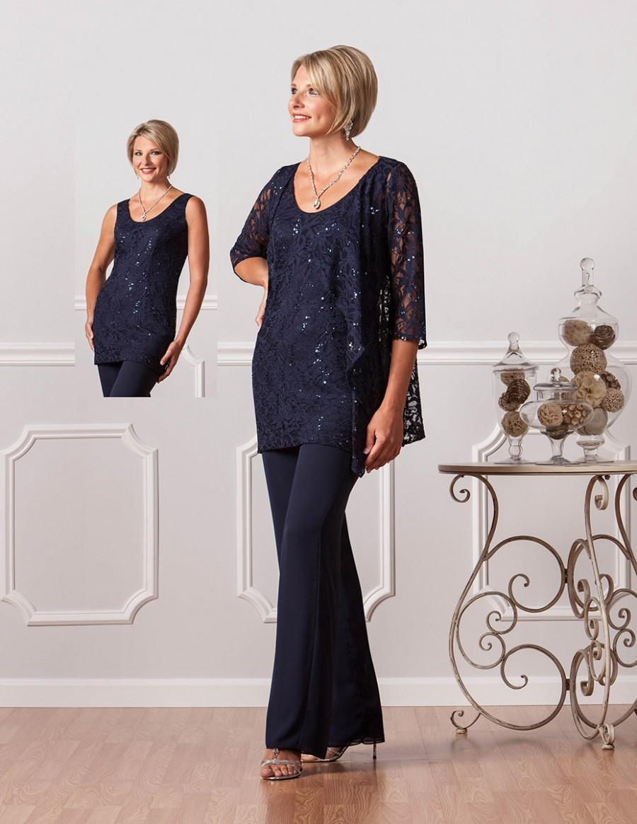 Navy Blue Lace Women Chiffon Pants Suit Wedding Formal Mother Of The Bride Pant Suits Designer - beach wedding outfit for guests