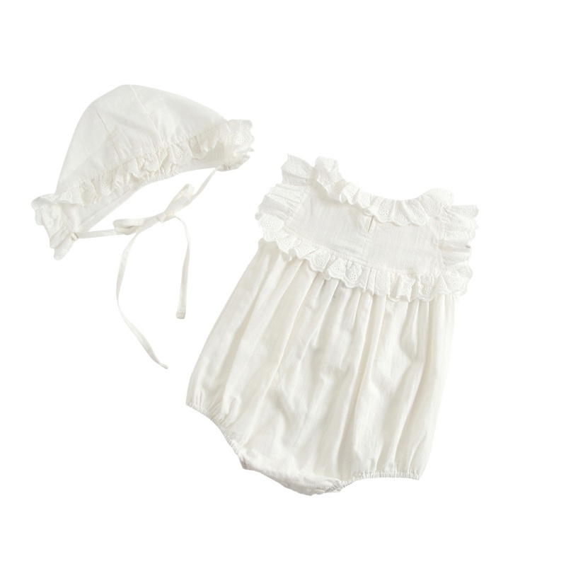 Infant Baby Peter Pan Collar White Rompers Ruffles Cotton Lace Jumpersuit Newborn Baby Fall Overalls With Hats