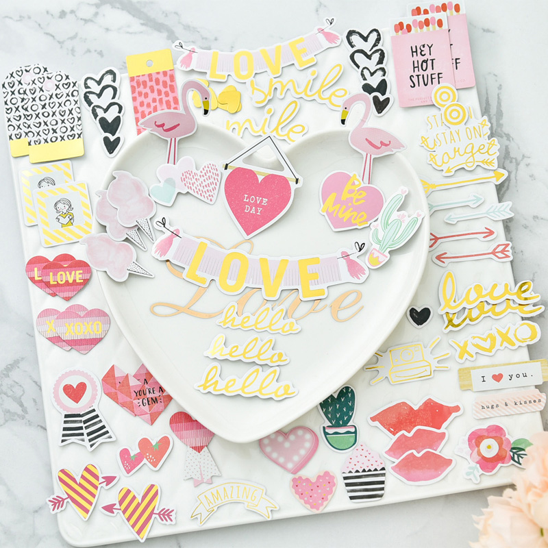 KSCRAFT Hello Loven Foil Paper Die Cuts para DIY Scrapbooking / álbum de fotos Decoración Tarjeta Crafts 65pcs