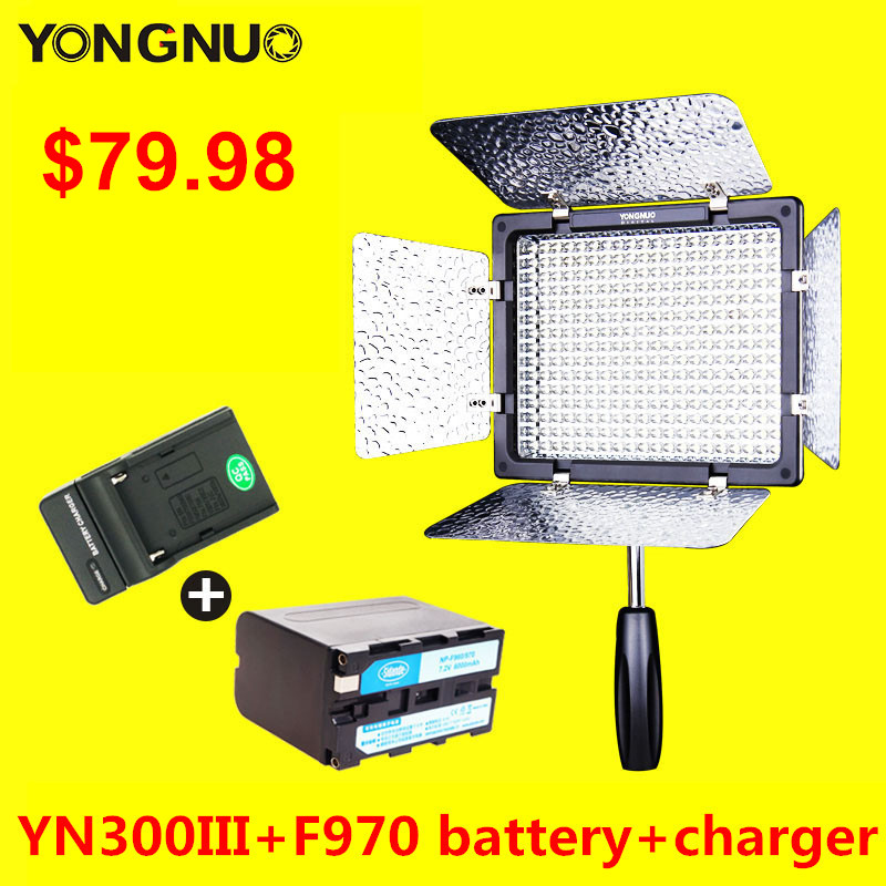 YONGNUO YN300 III CRI95 Led Camera Video Light with NP-F970 Battery & Charger YN300III for Video Blog Youtube Live Stream free shipping yongnuo yn300 iii led 5500k camera video flash light yn300 iii for dslr camera olympus app yongguo np 750 5200mah