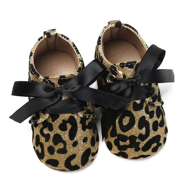 f47c08da8f8d New Infant Baby Boy Girl shoes Leopard Glitter Trainers Soft Sole Pram  Shoes Leopard Bow Baby First Walkers Shoes leather
