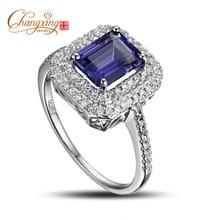 Real 14k Gold  Emerald Cut Violet Blue Tanzanite Full Cut Diamond Ring Fine Jewelry