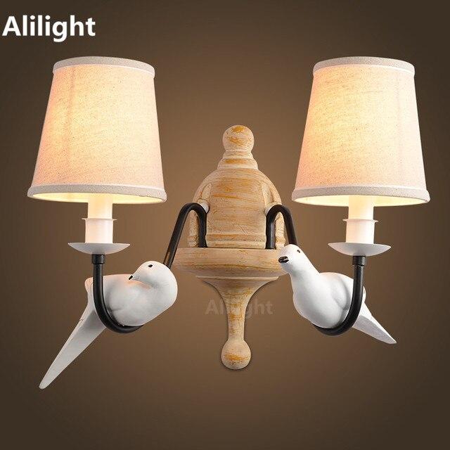 Retro Vintage Wandleuchte 2 Licht Vögel Wandleuchte Harz Material Metall  Malerei Stoffschirm Wandlampen Für Schlafzimmer Home