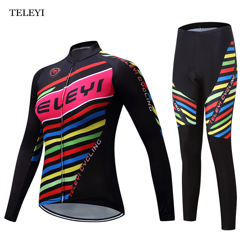 TELEYI Team Pro Team Womens Bike Wear Riding Ropa Ciclismo Cycling Clothes Jersey&Bib Pants Set Long Sleeve Cycling Suit