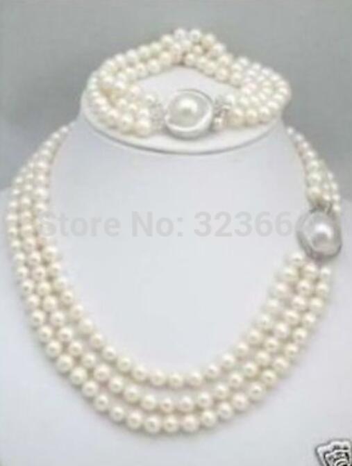 Triple brins chauds 8-9mm mer du sud collier de perles blanches Bracelet ensemble fermoir Mabe