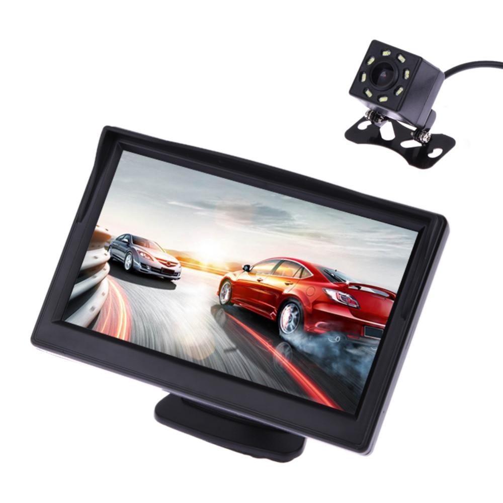 VODOOL 5 pulgadas TFT LCD vista trasera Monitor de pantalla impermeable noche visión de copia de marcha atrás Cámara retrovisora coche de calidad monitores