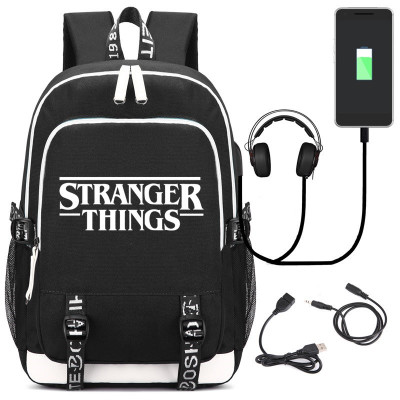 Hot Stranger Things Backpack Fashion Usb Charge Headphone Jack Laptop Bags Multifunction College Students School Travel Bagpack