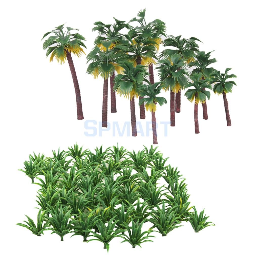 62Pc Green Scenery Layout Model Tree Landscape Model Sword Grass & Palm Tree fairy tree beach scenery wall decor tapestry