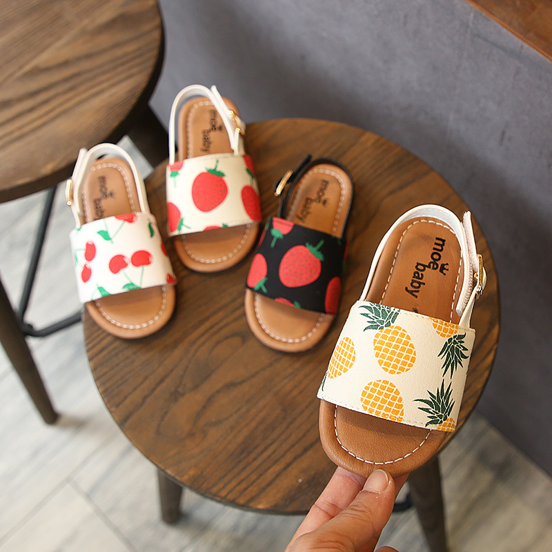 Summer 2020 New Fashion Kids Sandals Red Strawberry Princess Baby Soft-soled Non-skid Girl Sandals Pineapple Cherry Pu Leather