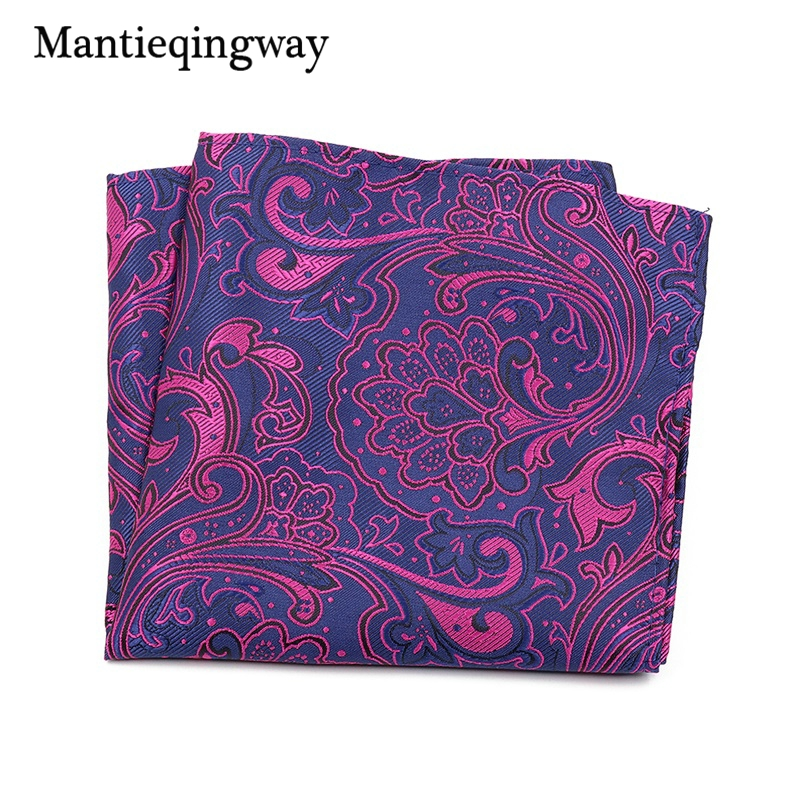 Mantieqingway Casual Business Men's Suit Paisley Chest Towel Pocket Square For Party Polyester Yarn Floral Pattern Handkerchief