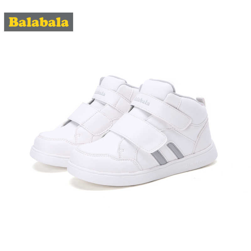 Balabala Boys Fleece-Lined High-Top Sneakers for Toddler Boy Kids Casual Sneakers Double Hook-and-loop Straps with Tab at Heel